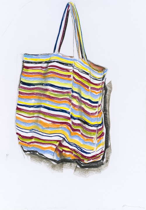 OLAF METZEL<br />»Tasche«, 2009<br />pencil and pastel on paper, 100 x 70 cm (framed)<br />
