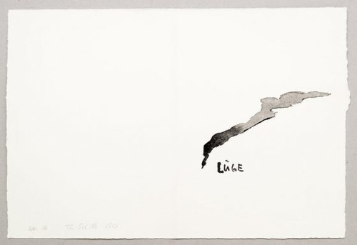THOMAS SCHÜTTE<br /><i>Lüge (Nr. 16)</i>, 1991<br />watercolor on hand made paper, 37 x 39,5 cm<br />