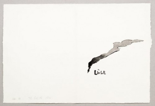THOMAS SCHÜTTE<br />»Lüge (Nr. 16)«, 1991<br />watercolor on hand made paper, 37 x 39,5 cm<br />