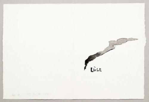 THOMAS SCHÜTTE<br />»Lüge (Nr. 16)«, 1991<br />watercolor on hand made paper, 37 x 39,5 cm<br />