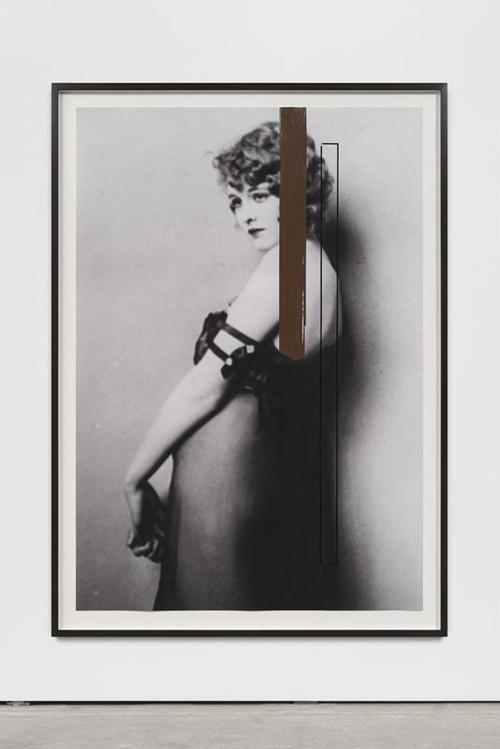GREGOR HILDEBRANDT<br /><i>Deine Hand sie ist so eisig</i>, 2018<br />cassette tape, ink jet print, 162 x 114 x 4 cm (framed)<br />