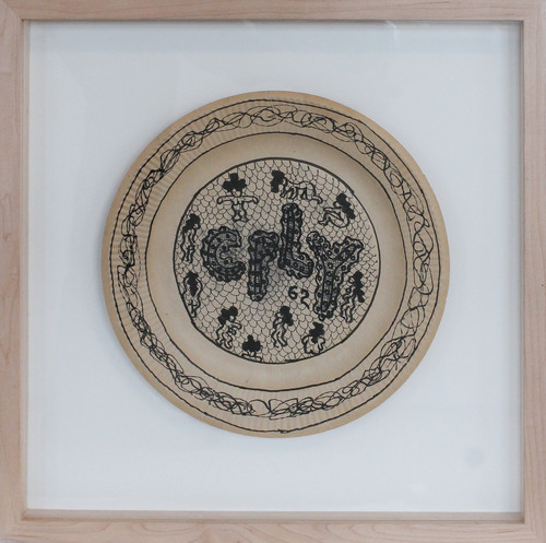 WILLIAM N. COPLEY<br /><i>Untitled</i>, 1962<br />marker on paper plate, 23,5 x 23,5 cm<br />