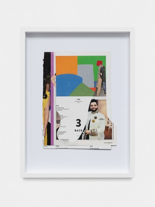 DAVID RENGGLI<br /><i>College Notes: Glöckler / Adnan</i>, 2017<br />collage made of magazine pages, 40 x 30 x 3,5 cm<br />