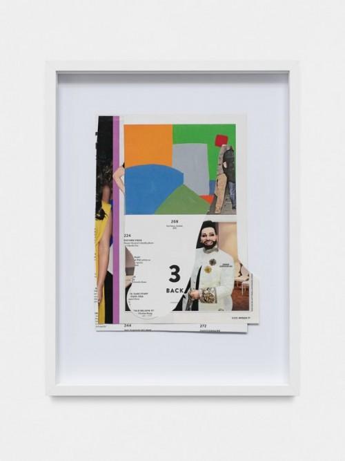 DAVID RENGGLI<br />»College Notes: Glöckler / Adnan«, 2017<br />collage made of magazine pages, 40 x 30 x 3,5 cm<br />
