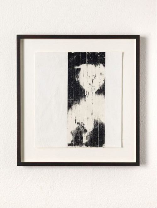 GREGOR HILDEBRANDT<br />»o.T.«, 2014<br />video tape, adhesive tape and acrylic paint on paper, 31 x 28 cm<br />