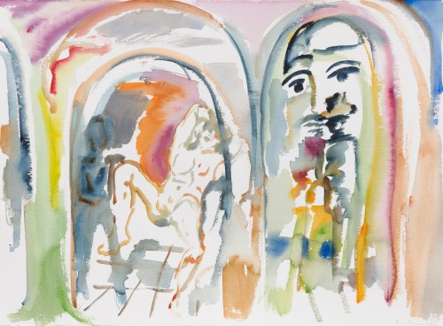 SOPHIE VON HELLERMANN<br />»Daisy Miller«, 2017<br />watercolor on paper, 56 x 76 cm<br />