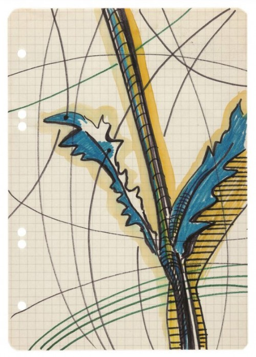 SIGMAR POLKE<br />»ohne Titel«, n.d.<br />watercolor, felt-tip-pen, pencil on paper, 21 x 14,5 cm<br />