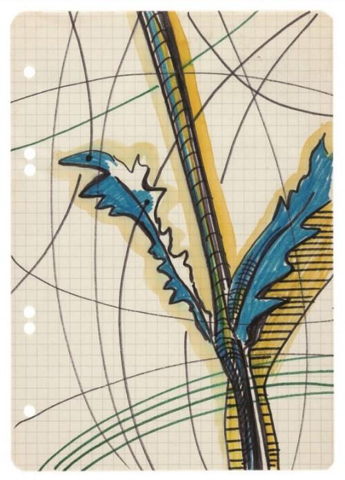 SIGMAR POLKE<br />»ohne Titel«, n.d.<br />watercolor, felt-tip-pen, pencil on paper, 21 x 14,5 cm<br />
