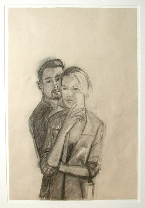 ALEX KATZ<br />»Juan and Oona«, 2003<br />pencil on paper, 61 x 40,6 cm<br />
