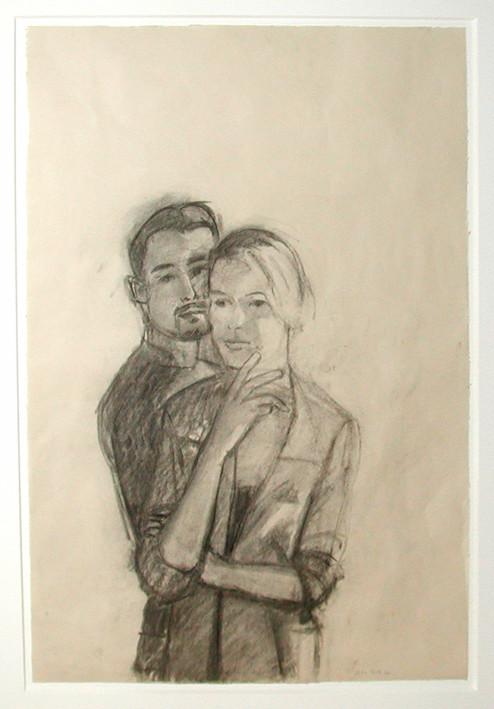 ALEX KATZ<br /><i>Juan and Oona</i>, 2003<br />pencil on paper, 61 x 40,6 cm<br />
