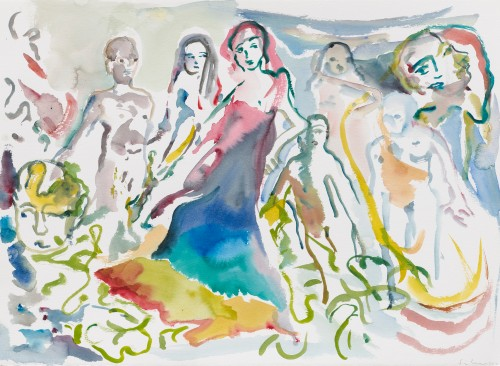 SOPHIE VON HELLERMANN<br />»Breakfast at Tiffany's«, 2017<br />watercolor on paper, 56 x 76 cm<br />