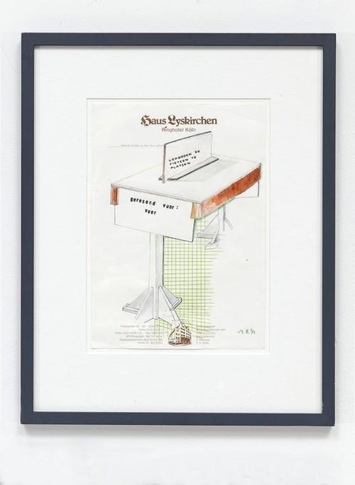MARTIN KIPPENBERGER<br /><i>Ohne Titel (Haus Lyskirchen Ringhotel Köln)</i>, 1994<br />pencil, crayon, ink, letraset on hotel stationary, 30 x 21 cm<br />