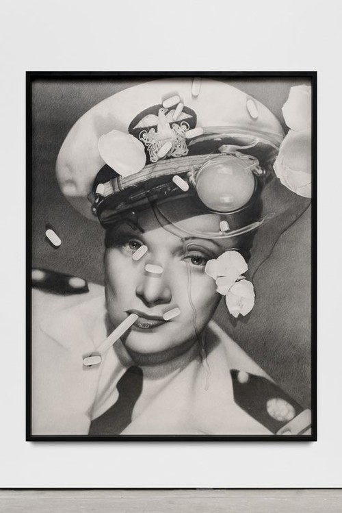 KARL HAENDEL<br /><i>Marlene Dietrich (with cracked egg and Zoloft)</i>, 2017<br />pencil on paper, 166 x 130 x 5 cm (framed)<br />