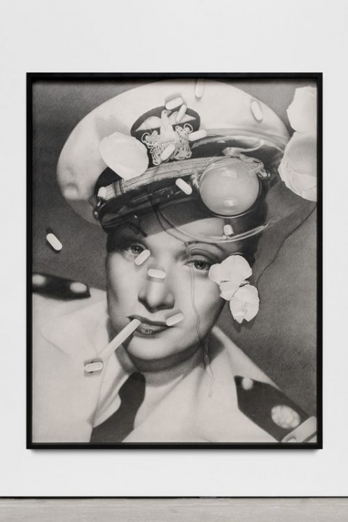 KARL HAENDEL<br />»Marlene Dietrich (with cracked egg and Zoloft)«, 2017<br />pencil on paper, 166 x 130 x 5 cm (framed)<br />