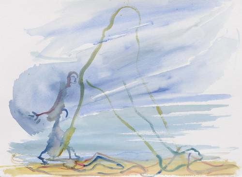 SOPHIE VON HELLERMANN<br /><i>Deutschstunde</i>, 2018<br />watercolor on paper, 56 x 76 cm<br />