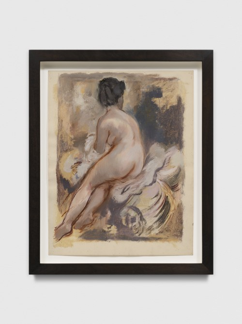 GEORGE GROSZ<br />»Sitting Female Nude«, 1940<br />mixed media and watercolor on vellum, reed pen and Feder in green ink, 56 x 69 x 4,5 cm (framed)<br />