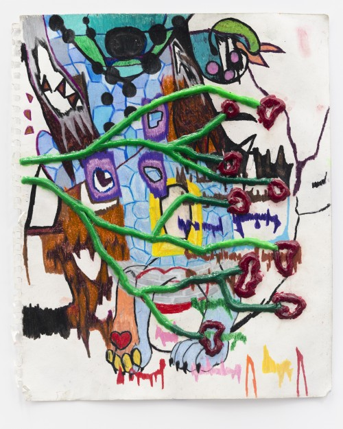 DEBO EILERS<br />»digitarian«, 2017<br />colored pencil and Epoxy on paper, 43 x 35 cm<br />