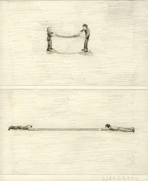 FRANZ ERHARD WALTHER<br /><i>Nachzeichnung</i>, 1971<br />pencil on paper, 25 x 20 cm<br />