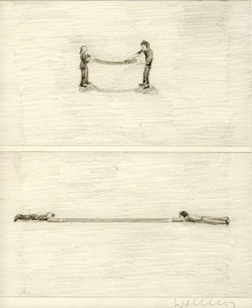 FRANZ ERHARD WALTHER<br />»Nachzeichnung«, 1971<br />pencil on paper, 25 x 20 cm<br />