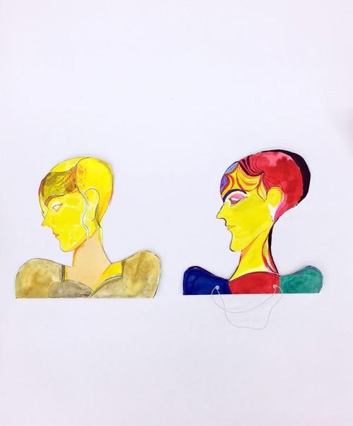 LOTHAR HEMPEL<br /><i>Untitled</i>, 2018<br />pencil, ink, watercolor, paper collage on dibond, 60 x 50 cm<br />