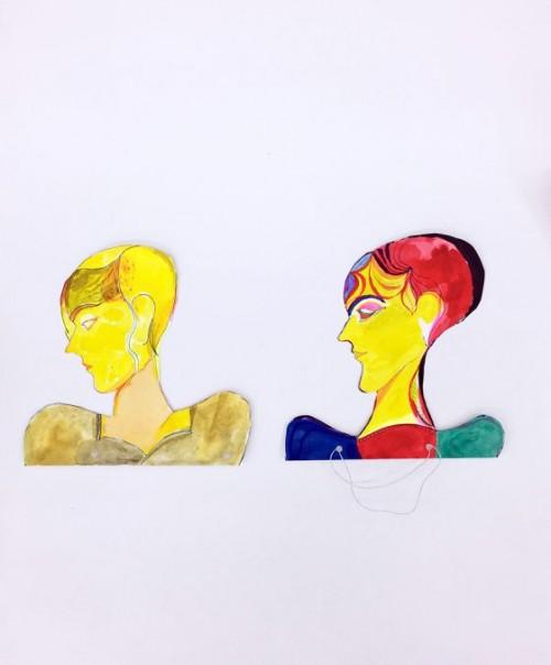 LOTHAR HEMPEL<br />»Untitled«, 2018<br />pencil, ink, watercolor, paper collage on dibond, 60 x 50 cm<br />