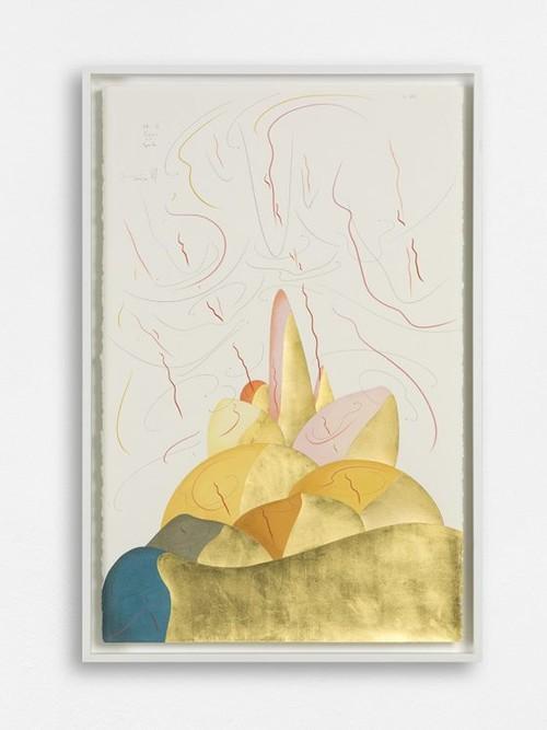 JORINDE VOIGT<br /><i>Hills IX</i>, 2017<br />ink, gold leaf, pastel, oil crayon, pencil on paper, 109 x 73 x 8 cm<br />