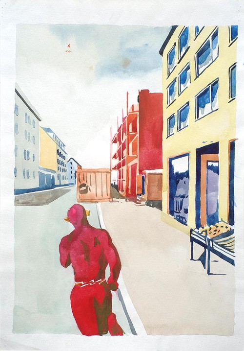 WAWRZYNIEC TOKARSKI<br /><i>Flash</i>, 1991<br />watercolor on paper, 43 x 30 cm<br />