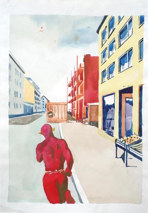 WAWRZYNIEC TOKARSKI<br />»Flash«, 1991<br />watercolor on paper, 43 x 30 cm<br />