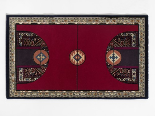 »Pattern Matching Red«, 2010<br />carpet pieces, 75 x 128 cm<br />