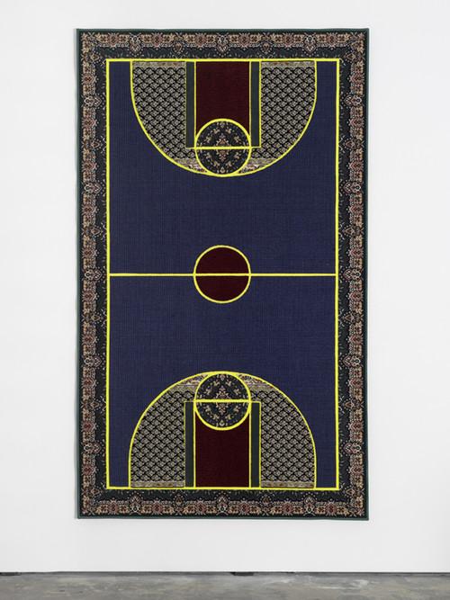 <i>Pattern Matching Blue</i>, 2010<br />carpet pieces, 256 x 150 cm<br />