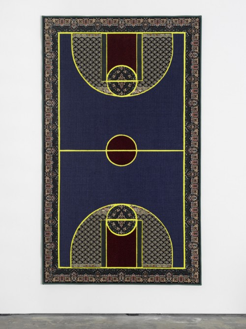 »Pattern Matching Blue«, 2010<br />carpet pieces, 256 x 150 cm<br />