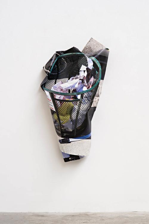 <i>trash can</i>, 2016<br />aluminium, stainless steel, digital print, 145 x 78 x 25 cm<br />