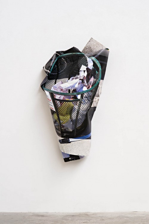 »trash can«, 2016<br />aluminium, stainless steel, digital print, 145 x 78 x 25 cm<br />