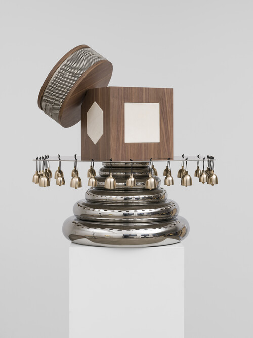 NEVIN ALADAG<br /><i>Resonator Percussion</i>, 2019<br />stainless steel, plywood, leather, bronze, 95 x 100 x 100 cm<br />Edition 3/3 + 2 AP