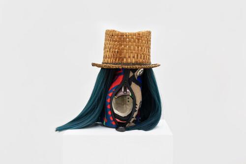 NATALIE BALL<br /><i>Purse Firs</i>, 2019<br />Cedar top hat, Pendelton wool purse, Nike Air Max shoe, abalone shell, wig, metal, 36 x 23 x 23 cm<br />