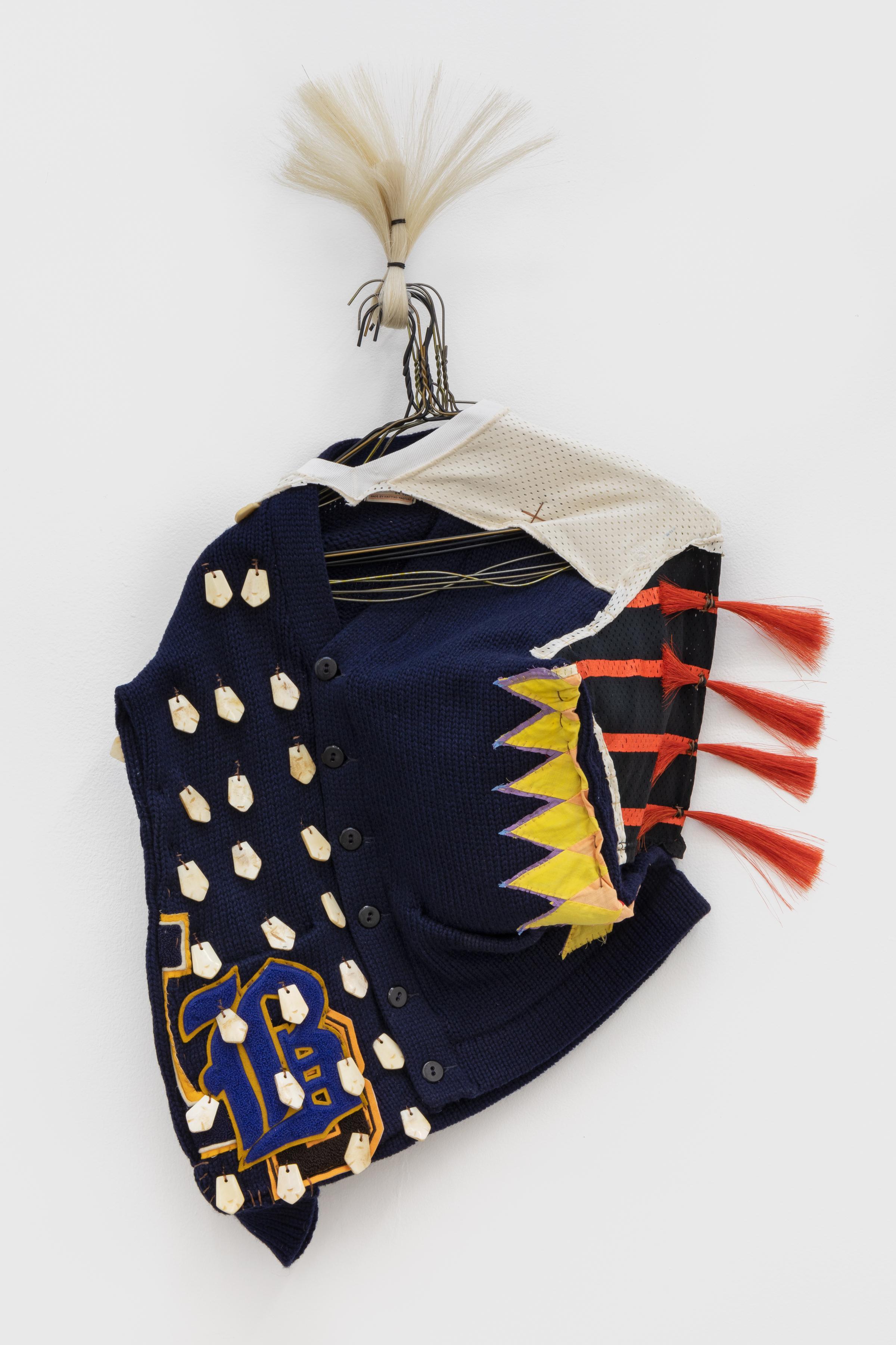 NATALIE BALL<br /><i>Breast Plate (series)</i>, 2019<br />bone, textiles, horsehair, metal, chenille, 84 x 64 x 13 cm<br />