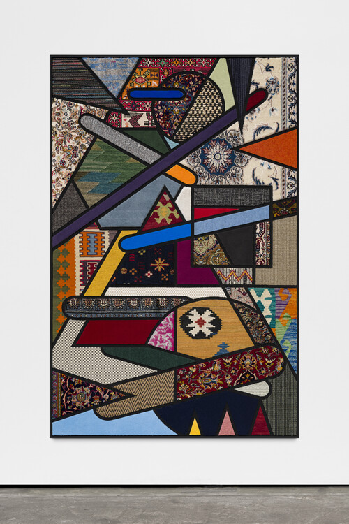 NEVIN ALADAG<br /><i>Social Fabric, Percussion III</i>, 2020<br />carpet pieces on wood, 172 x 112 x 5 cm<br />