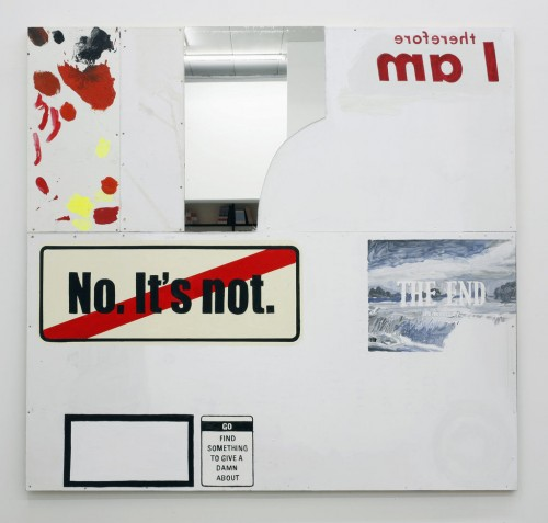 »it's necessary«, 2010<br />acrylic ink and mixed media on plywood aluminum and mirror, 180 x 190 cm<br />