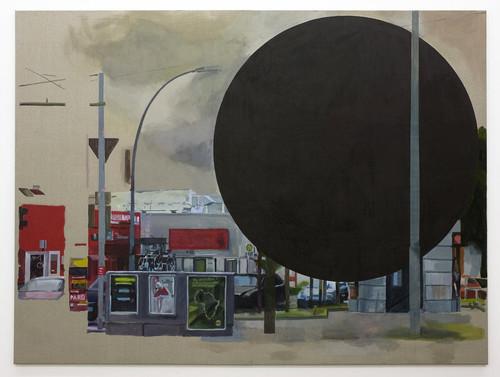 <i>black hole</i>, 2010<br />gouache ink on canvas, 240 x 320 cm<br />