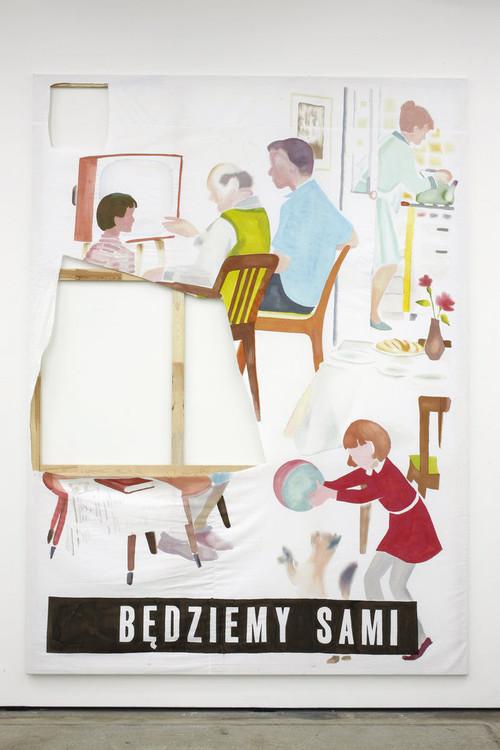 <i>bedziemy sami</i>, 2010<br />mixed media on canvas, 300 x 220 cm<br />