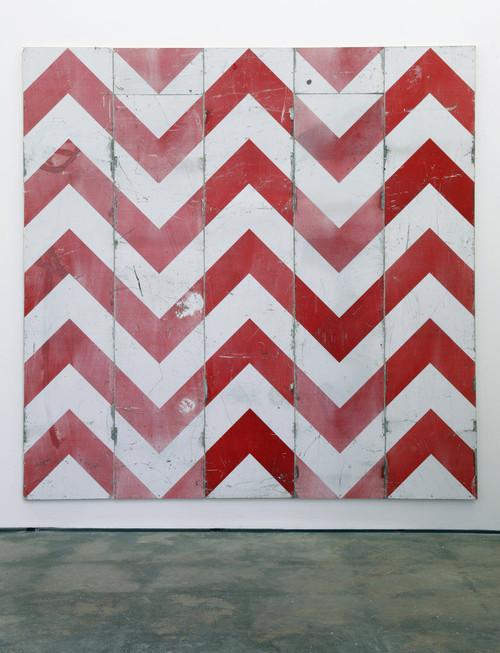 <i>richtungsweisend</i>, 2010<br />aluminium on wood, 250 x 250 cm<br />