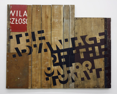 <i>The advantage of the unfortunate</i>, 2010<br />mixed media, acrylic, household paint on wood, 212 x 267 cm<br />