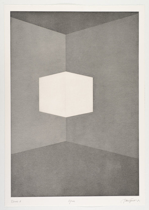 JAMES TURRELL<br /><i>First Light Blonde / Afrum</i>, 1989/1990<br />Aquatint, 107 x 76 cm<br />
