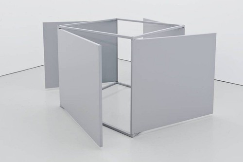 CHARLOTTE POSENENSKE<br /><i>Small Series E Drehflügel</i>, 1967/68<br />xpanded plastic slab coated with aluminum plates, spray painted matt grey, revolvable on 4 axes, 100 x 100 x 100 cm<br />