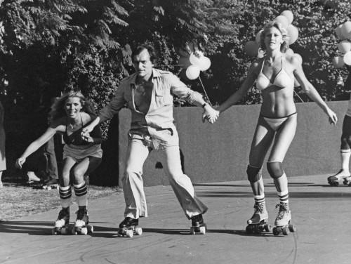 »Hef and Playmates in LA«, 1984<br />vintage photo, 28 x 36 cm<br />