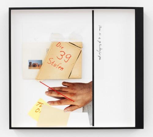 »Page 70 of DIE DUNKLERE MIRIAM«, 2012<br />Mischtechnik, collage, 43 x 48 cm<br />