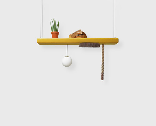 »jene (Display)«, 2019<br />wood, foam, upholstery fabric, horsehair, sphere lamps, logs, potted plant, 100 x 150 x 30 cm<br />