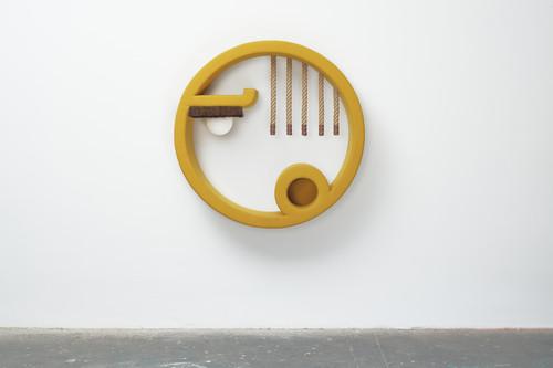 <i>jene 5</i>, 2019<br />wood, foam, upholstery fabric, horsehair, sphere lamps, logs, 138 x 138 x 40 cm<br />