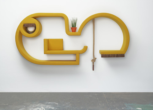 <i>jene 2</i>, 2019<br />wood, foam, upholstery fabric, horsehair, sphere lamps, logs, potted plant, 138 x 300 x 40 cm<br />