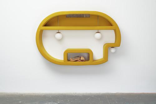 <i>jene 1</i>, 2019<br />wood, foam, upholstery fabric, sphere lamps, logs, 138 x 218 x 40 cm<br />